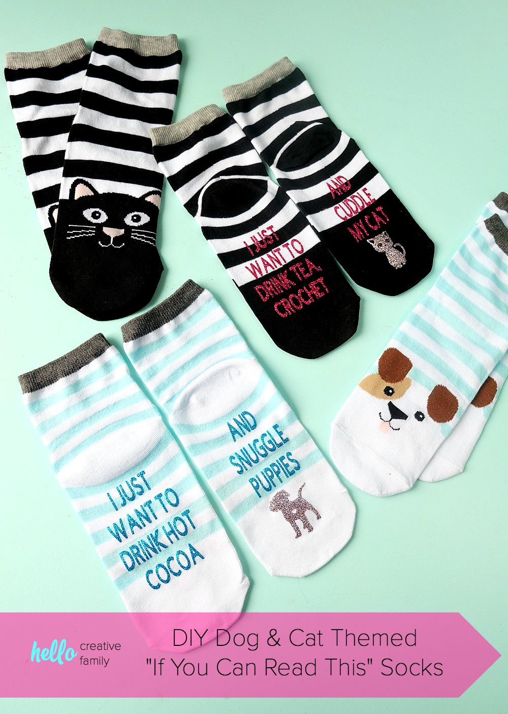 """The perfect handmade gift idea for dog and cat lovers! These DIY dog and cat themed """"If You Can Read This Socks"""" are easy to make using a Cricut Maker or Cricut Explore and turn out so cute! Change the wording using our free Cricut Cut File! This is an adorable stocking stuffer idea under $5.00! Perfect for Easter Basket Stuffers too! #cricutmaker #cricutmade #cricutproject #stockingstuffer"""