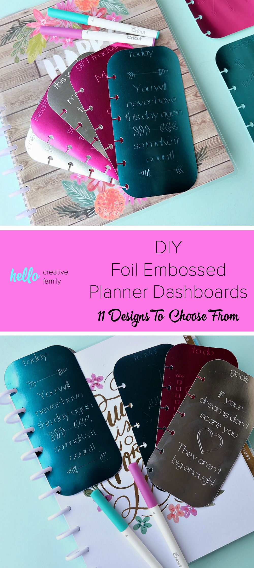 Making DIY Planner accessories is so much fun! Learn how to make foil embossed DIY planner dashboards using your Cricut Explore or Cricut Maker and a scoring stylus! This project includes 11 different design options for your tabs. So easy to make. This project will kick your planner up a notch or two! #CricutMade #CricutHoliday #HappyPlanner #Planners #crafts #DIY