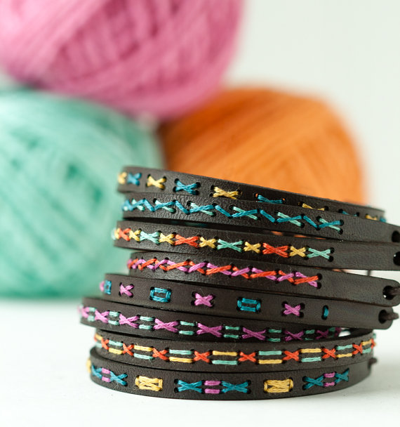 Handmade Holiday Gift Guide Gifts For Her: DIY Leather Bracelet Cross Stitch Kit from Red Gate Stitchery