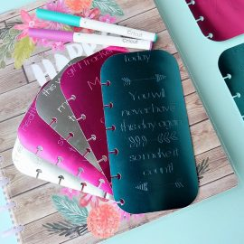 Making DIY Planner accessories is so much fun! Learn how to make foil embossed DIY planner dashboards using your Cricut Explore or Cricut Maker and a scoring stylus! This project includes 11 different options for your tabs. So easy to make. This project will kick your planner up a notch or two! #CricutMade #CricutHoliday #HappyPlanner #Planners #crafts #DIY
