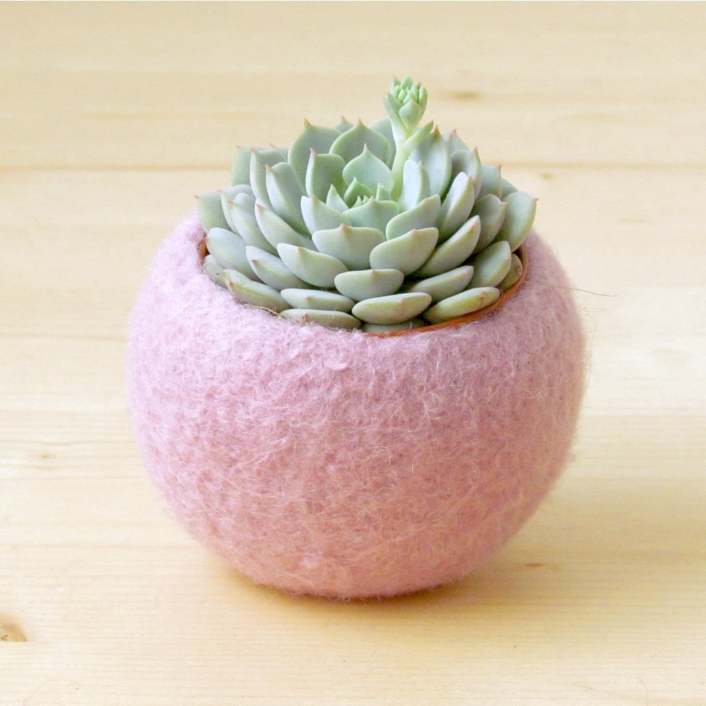 Handmade Holiday Gift Guide Gifts For Her: Felted Succulent Planter from The Yarn Kitchen