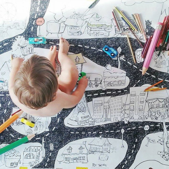 Handmade Holiday Gift Guide Gifts For Kids: Giant City Coloring Poster from Atelier Rue Tabaga