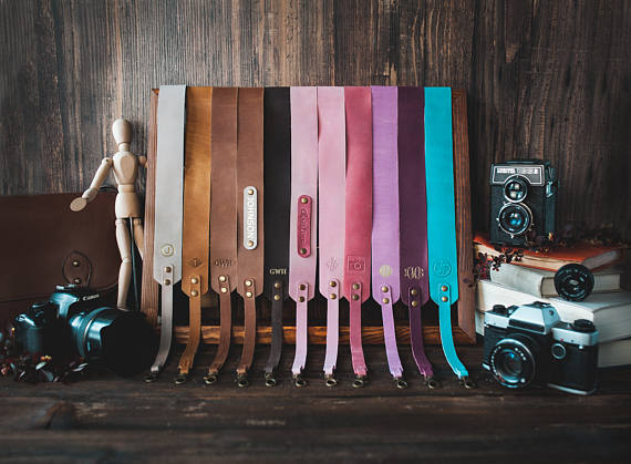 Handmade Holiday Gift Guide Gifts For Her: Leather Camera Strap from So Good So Wood