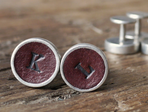 Handmade Holiday Gift Guide Gifts For Him: Leather Initial Cuff Links from Kingsley Leather