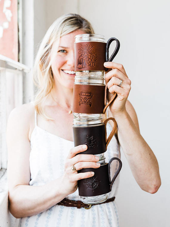 Handmade Holiday Gift Guide Gifts For Him: Leather Mason Jar Mug Hugger from Portland Leather Goods Fast