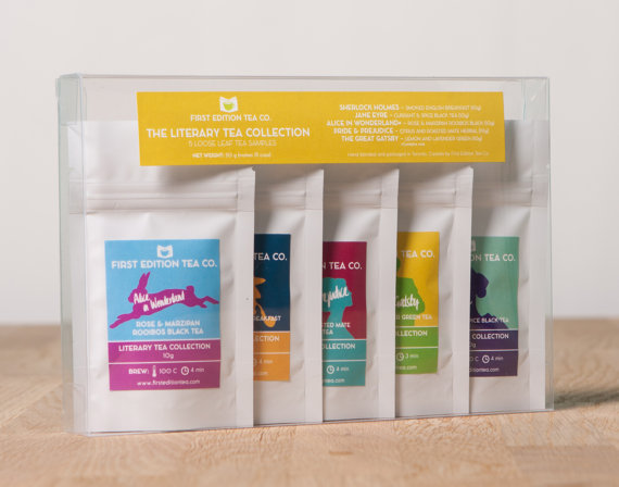 Handmade Holiday Gift Guide Gifts For Her: The Literary Collection Loose Leaf Tea Set from First Edition Tea Company