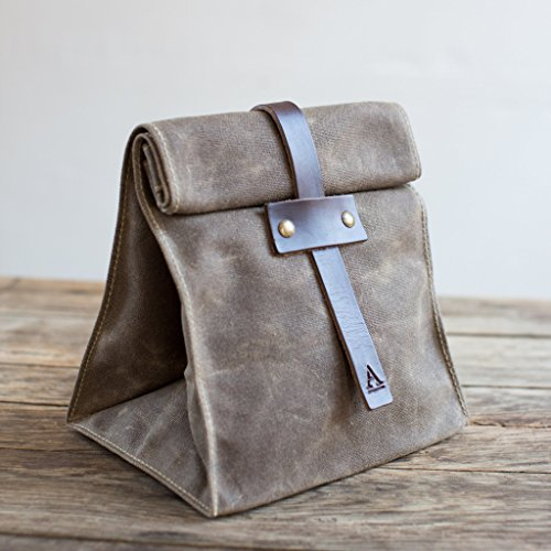 Handmade Holiday Gift Guide Gifts For Him: Waxed Canvas Lunch Tote from Artifact