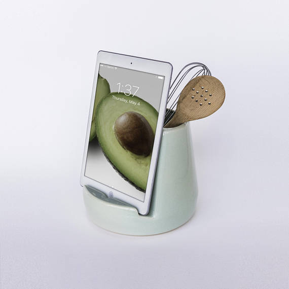 Handmade Holiday Gift Guide Gifts For Her: Mint Green Kitchen Dock and Canister from STAK Ceramics