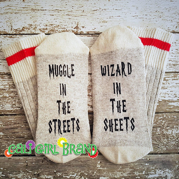 Handmade Holiday Gift Guide Gifts For Him: Muggle In The Streets Socks from Cali Girl Brand