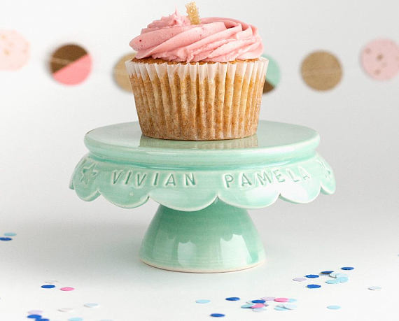 Handmade Holiday Gift Guide Gifts For Her: Personalized Birthday Cupcake Stand from Jeanette Zeis