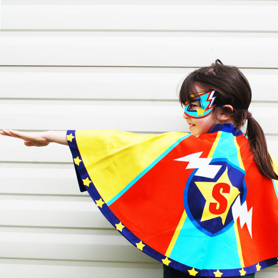 Handmade Holiday Gift Guide Gifts For Kids: Personalized Superhero Cape and Mask from Wild Things Dresses