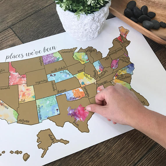 Handmade Holiday Gift Guide Gifts For Kids: Places We've Been Map from Kristin Douglas Art
