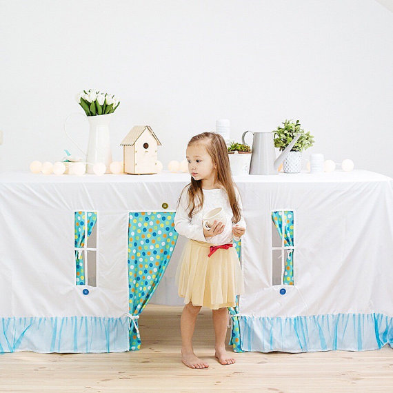 Handmade Holiday Gift Guide Gifts For Kids: Playhouse Tablecloth from Striped Coast