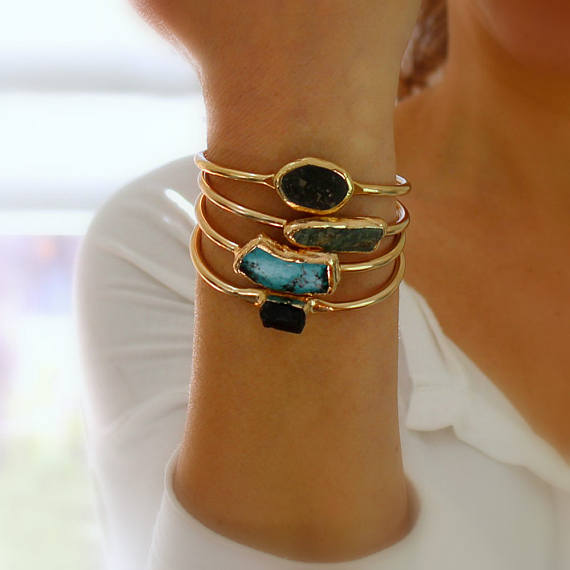 Handmade Holiday Gift Guide Gifts For Her: Raw Turquoise Cuff Bracelet from Inbal Mishan