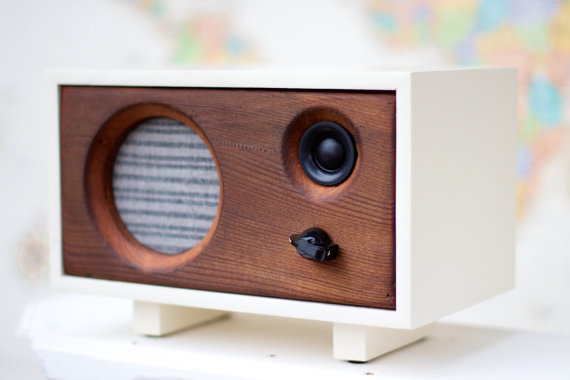 Handmade Holiday Gift Guide Gifts For Him: Reclaimed Wood Speaker from Salvage Audio