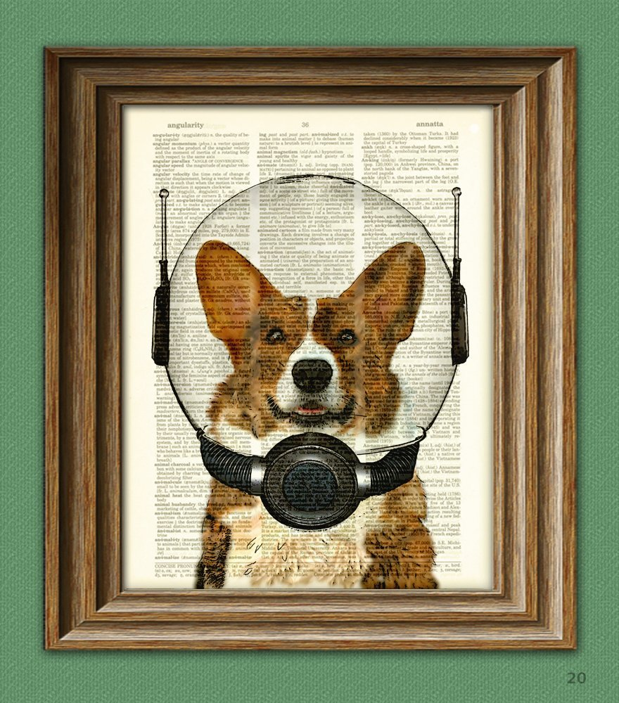 Handmade Holiday Gift Guide Gifts For Kids: Space Corgi Lieutenant Waffles Book Art Print from CollageOrama