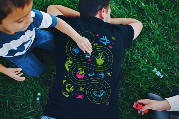 Handmade Holiday Gift Guide Gifts For Him: Space Playmat Shirt from BYK Kid