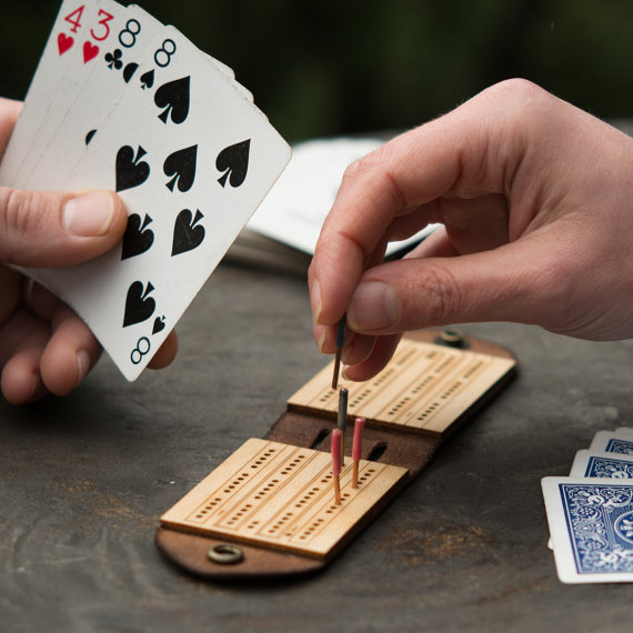 Handmade Holiday Gift Guide Gifts For Him: Travel Cribbage Board from Walnut Studio