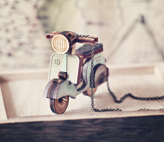 Handmade Holiday Gift Guide Gifts For Her: Vespa Scooter Necklace from Strangely Yours