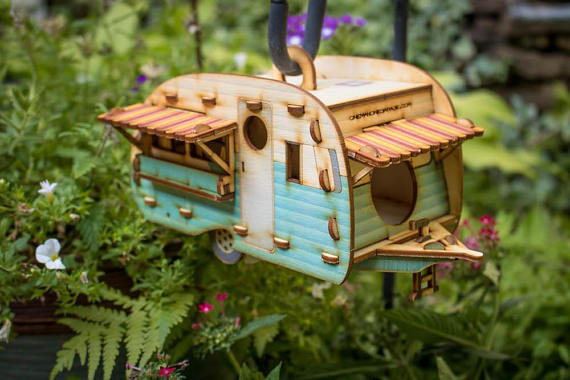 Handmade Holiday Gift Guide Gifts For Her: Vintage Camper Van Birdhouse from One Man One Garage