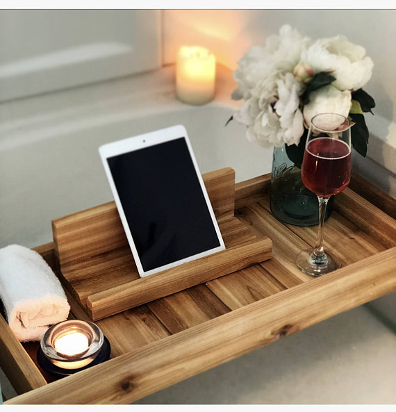 Handmade Holiday Gift Guide Gifts For Her: Wood Bath Tray from My Beachy Farmhouse