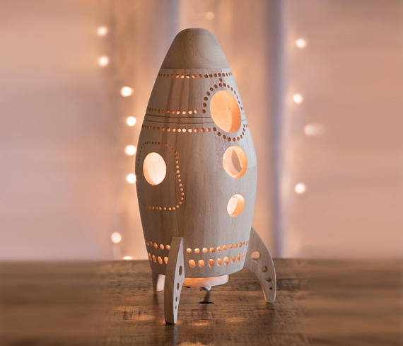 Handmade Holiday Gift Guide Gifts For Kids: Wooden Rocket Ship Night Light from Lighting By Sara