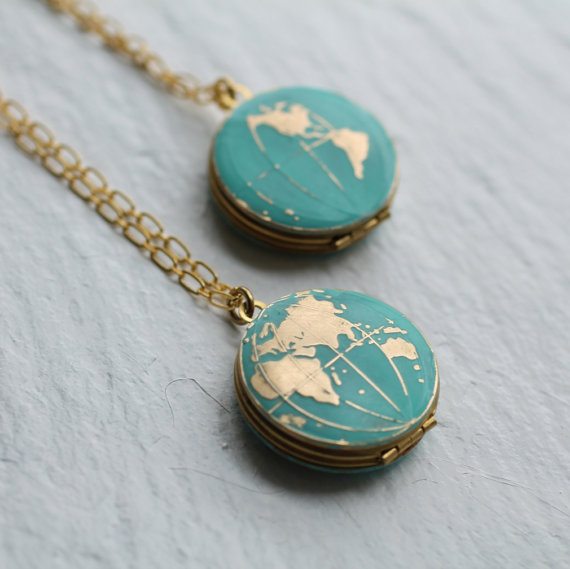 Handmade Holiday Gift Guide Gifts For Her: World Map Locket from Silk Purse Sows Ear