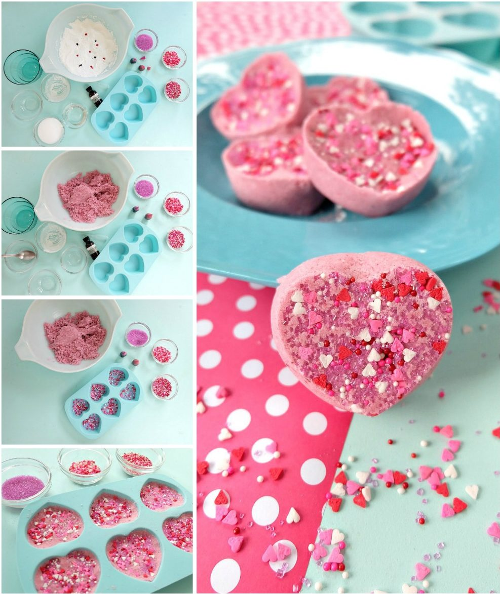 These Easy DIY Candy Heart Bath Bombs are scented like cotton candy and are just about as sweet as can be! They would make the best handmade gift idea for Valentine's Day, teacher's gifts, mother's day, birthday's, birthday party favors or shower favors! Fun and simple to make! Even kids can help with these heart shaped bath bombs! #bodyproducts #beauty #handmadegiftidea #DIY