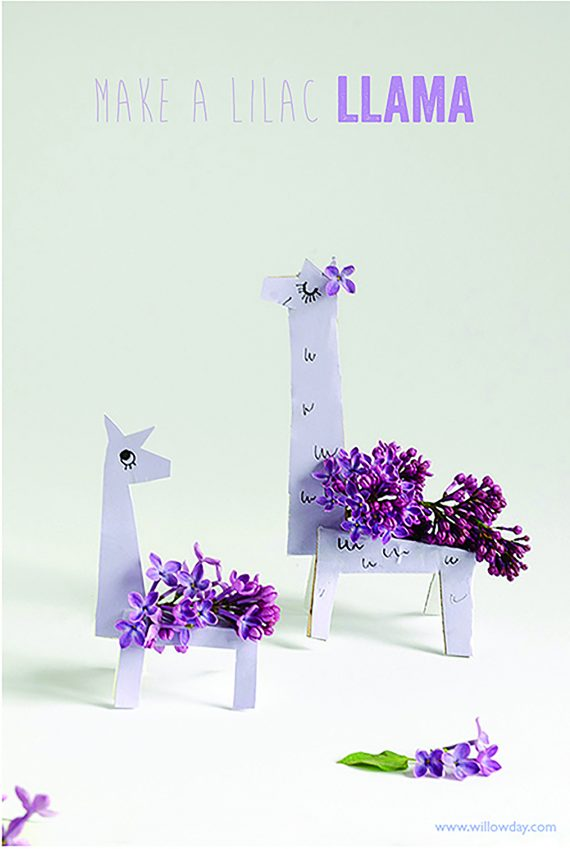 50+ Lovely Llama Crafts, Printables, SVG's DIY's, Food and Gift Ideas: DIY Lilac Llamas from Willowday