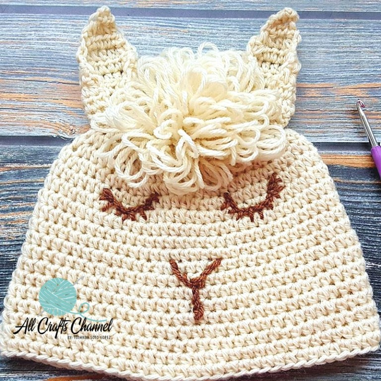 50+ Lovely Llama Crafts, Printables, SVG's DIY's, Food and Gift Ideas: Easy Crochet Llama Hat from All Crafts Channel