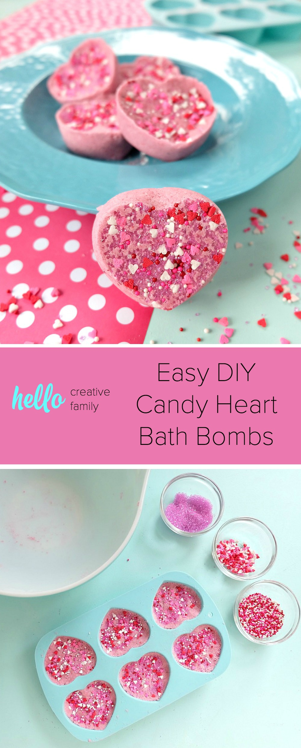 These Easy DIY Candy Heart Bath Bombs Are Scented Like Cotton And Just About