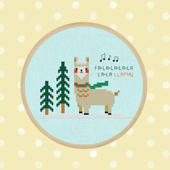 50+ Lovely Llama Crafts, Printables, SVG's DIY's, Food and Gift Ideas: Falala Llama Cross Stitch Pattern from And Wabisabi