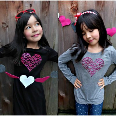 Cricut Valentine's Day DIY Heart Shirt- 1 Cut, 2 Shirts! Free Cut File!