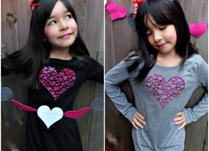 Cricut Valentine's Day DIY Heart Shirt- 1 Cut, 2 Shirts! Free Cut File!