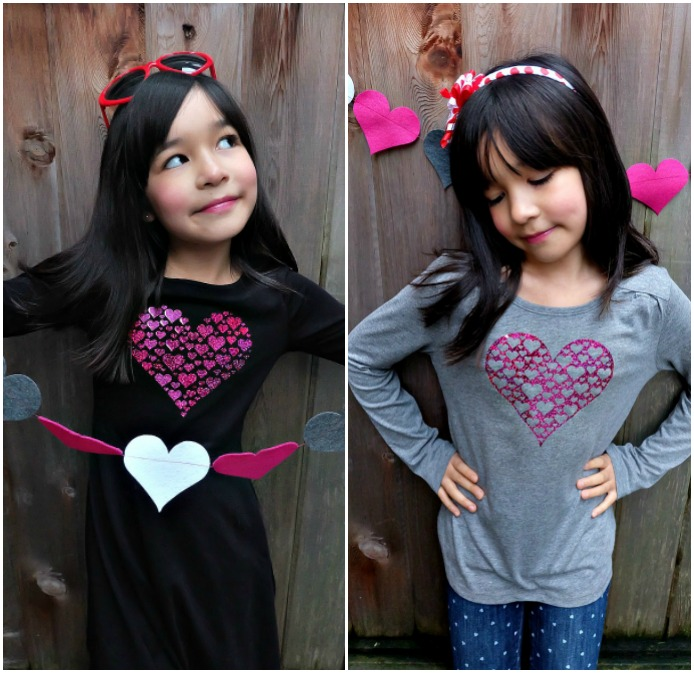 Celebrate Valentine's Day in style with this adorable DIY heart shirt! Make this project using your Cricut Maker or Cricut Explore. With this unique design one cut can make two shirts! Perfect for Valentine's Day parties or a handmade Valentine's Day or Galentine's Day gift. It would also make a fun BFF present! Includes free cut file! A fun shirt for kids or adults! #cricutmade #cricutmaker #cricutholiday