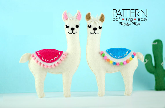 50+ Lovely Llama Crafts, Printables, SVG's DIY's, Food and Gift Ideas: Felt Llama Sewing Pattern from MaisieMooNZ