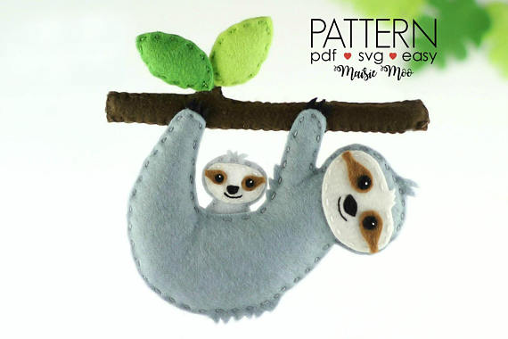 50+ Sloth Crafts, Printables, SVG's, DIY's, Food and Gift Ideas: Felt Sloth Sewing Pattern from MaisieMooNZ