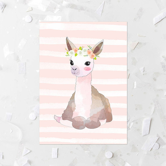 50+ Lovely Llama Crafts, Printables, SVG's DIY's, Food and Gift Ideas: Flower Crown Llama Printable from Moss And Twig Prints