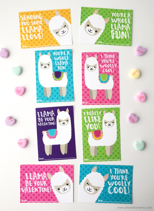 50+ Lovely Llama Crafts, Printables, SVG's DIY's, Food and Gift Ideas: Free Valentine's Day Llama Printable from Artsy Fartsy Mama