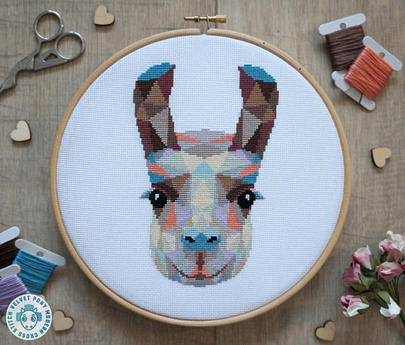 50+ Lovely Llama Crafts, Printables, SVG's DIY's, Food and Gift Ideas: Llama Cross Stitch Pattern from Velvet Pony Design