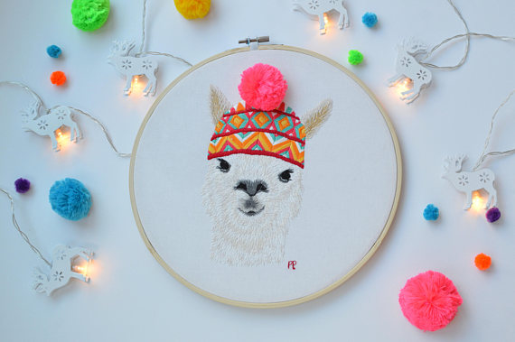 50+ Lovely Llama Crafts, Printables, SVG's DIY's, Food and Gift Ideas: Llama Embroidery Pattern from French Mango
