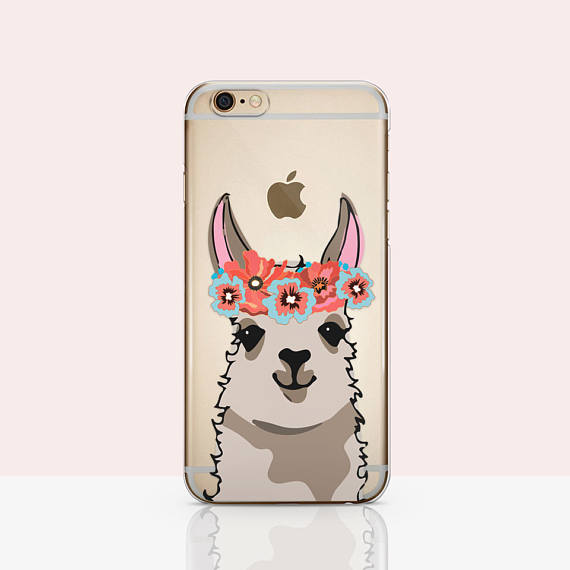 50+ Lovely Llama Crafts, Printables, SVG's DIY's, Food and Gift Ideas: Llama Flower Crown Phone Case from Lovely Cases Design