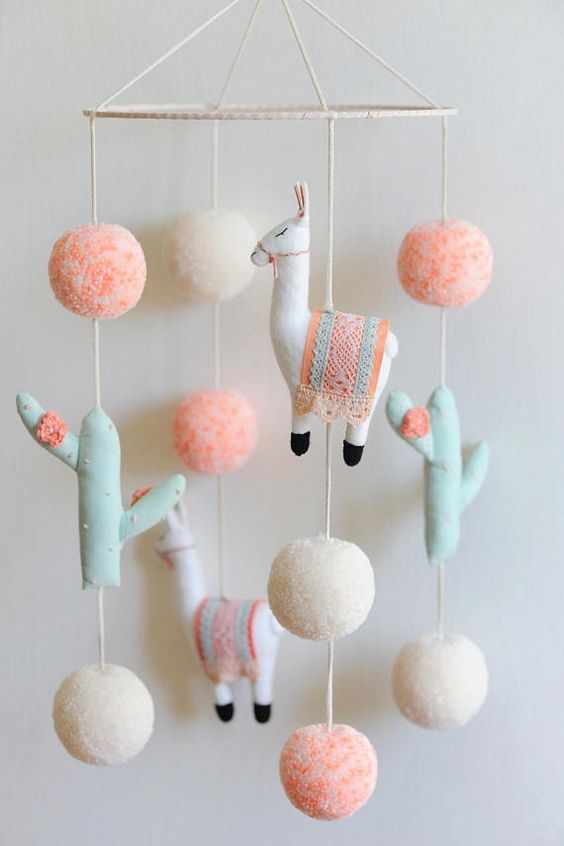 50+ Lovely Llama Crafts, Printables, SVG's DIY's, Food and Gift Ideas: Llama Mobile from Boho Baby Heaven