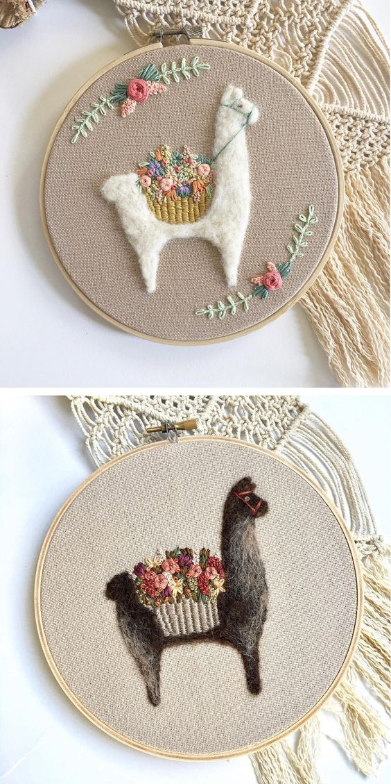 50+ Lovely Llama Crafts, Printables, SVG's DIY's, Food and Gift Ideas: Llama Needle Felted Embroidery Hoops from Brown Paper Bag