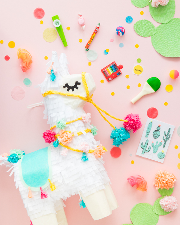50+ Lovely Llama Crafts, Printables, SVG's DIY's, Food and Gift Ideas: Llama Piñata Makeover from Oh Happy Day