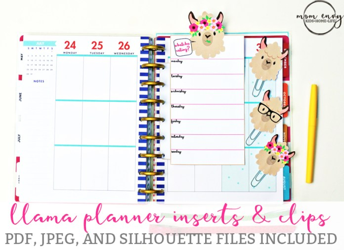 Llama Planner Inserts and Clips from Mommy Envy