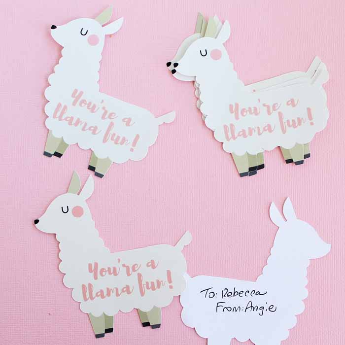 50+ Lovely Llama Crafts, Printables, SVG's DIY's, Food and Gift Ideas: Llama Print and Cut Valentine from The Country Chic Cottage