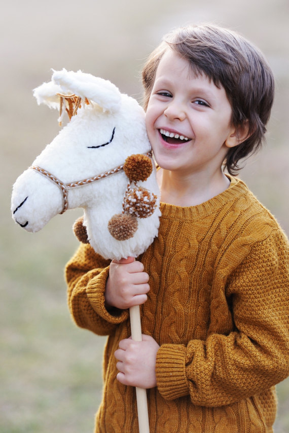 50+ Lovely Llama Crafts, Printables, SVG's DIY's, Food and Gift Ideas: Llama Riding Stick Toy from Boho Baby Heaven