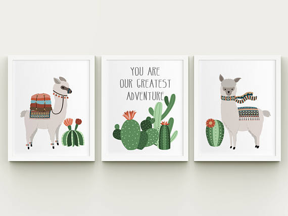 50+ Lovely Llama Crafts, Printables, SVG's DIY's, Food and Gift Ideas: Llama and Cactus Three Print Collection from Happy Print Creations