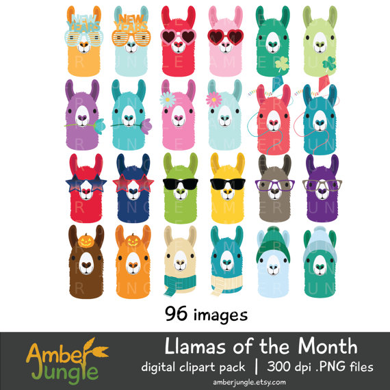 50+ Lovely Llama Crafts, Printables, SVG's DIY's, Food and Gift Ideas: Llama of the Month Image Collection from Amber Jungle